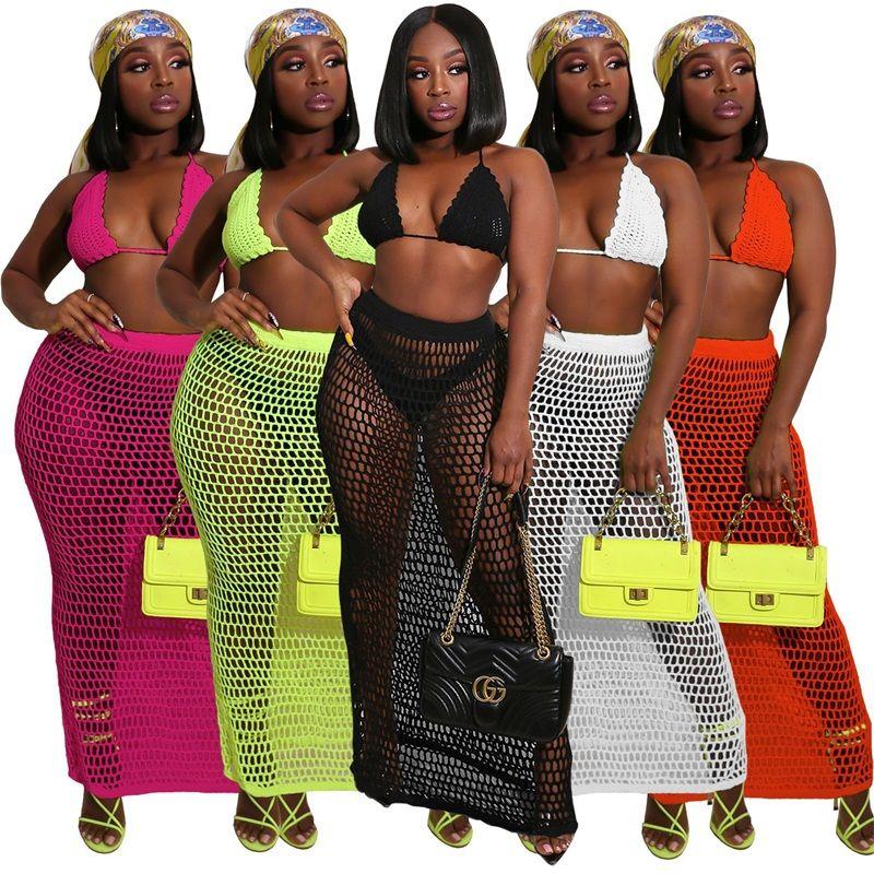 Neue Sommer Strand Tragen Sie Badeanzug Cover UPS Sexy handgefertigte Häkeln Crop Top und Hohl Mesh Sarong Röcke Zwei Teile Outfits 1514 Z2
