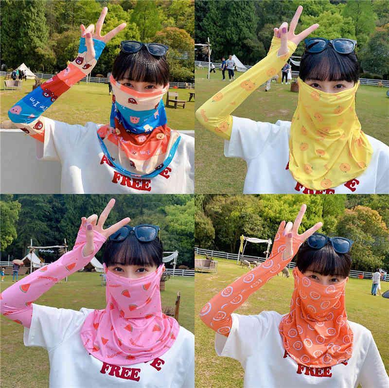 Masken Xia Ins Sonnencreme Schleier Weibliche Abdeckung Gesicht Eiseide Fahren Artefakt-Nackenschutz
