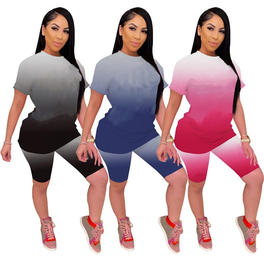 Women letter Tracksuits casual Sweatsuit gradient Two piece sets summer clothing sports Outfits short sleeve t shirt+mini shorts Plus size 4821
