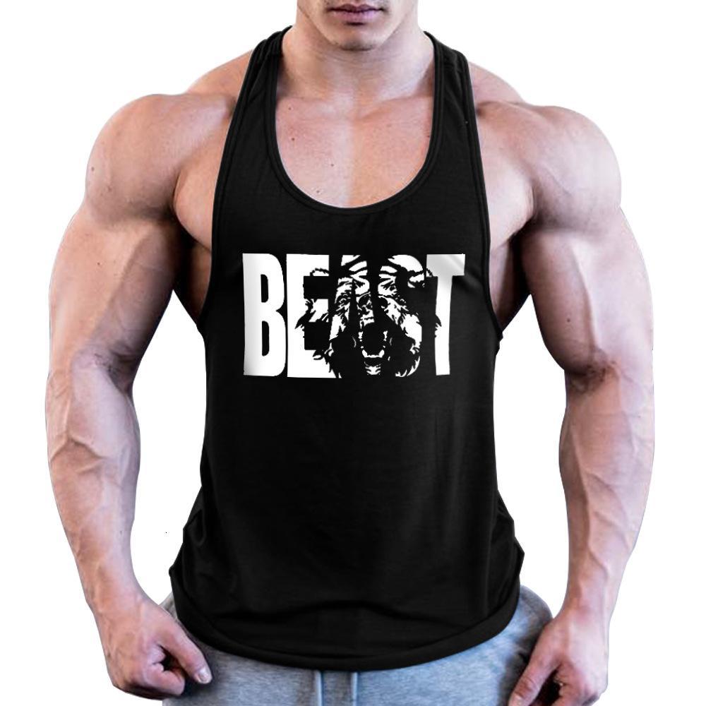 Fitness erkek Spor Yelek Yaz Pamuk Avrupa Beast Baskılı Geniş Omuz Kemer