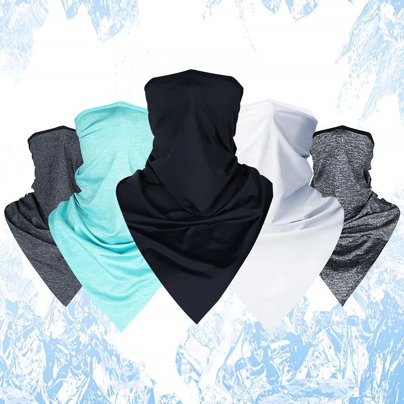 1 pc ao ar livre ciclismo respirável gelo de seda de seda capa esportes gravatas cabeça faixa de cabeça bandana impermeável poeira pescoço fresco lenço envoltório 602 x2