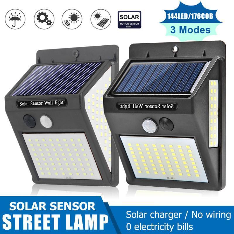 태양 벽 빛 100/140/144 LED 세 표면 발광 조명 인체 유도 야외 야외 정원 램프