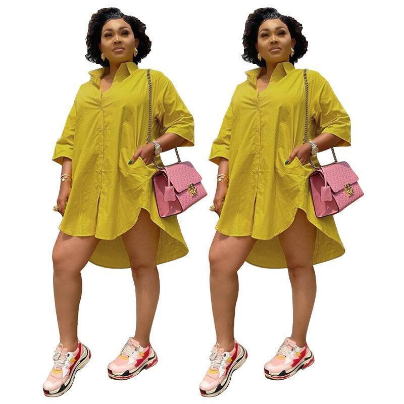 Women Plus Size Dress Fashion Loose Style Shirt Dress Office Lady One Piece Casual Dresses 2021