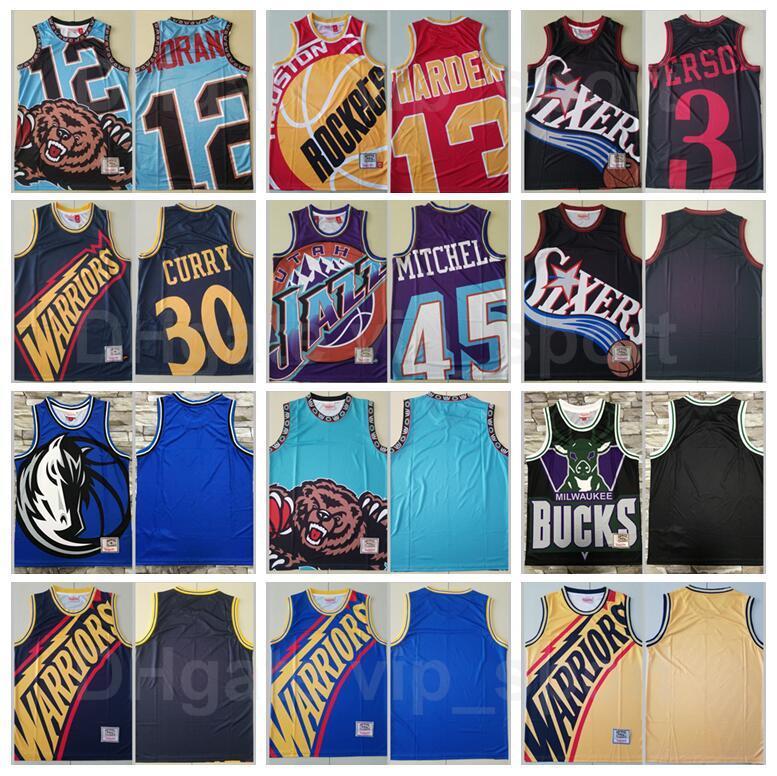 Baloncesto Mitchell y Ness Stephen Curry Jersey 30 James Harden 13 Donovan 45 JA Morant 12 Allen Iverson 3 Vintage Big Team Name