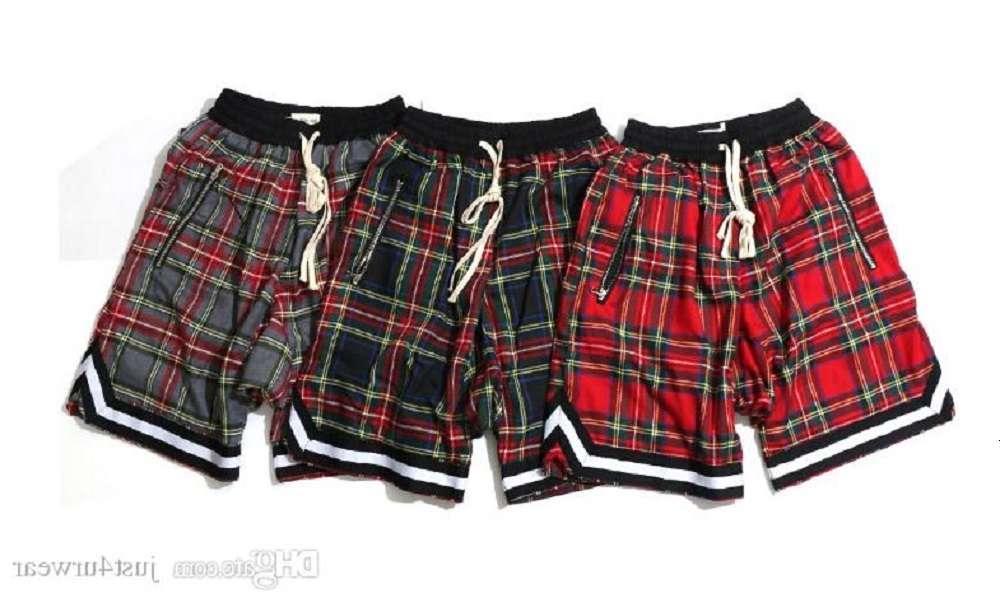 망 레트로 격자 무늬 스코틀랜드 패턴 높은 거리 힙합 캐주얼 느슨한 짧은 바지 남성 탄성 허리 지퍼 비치 반바지