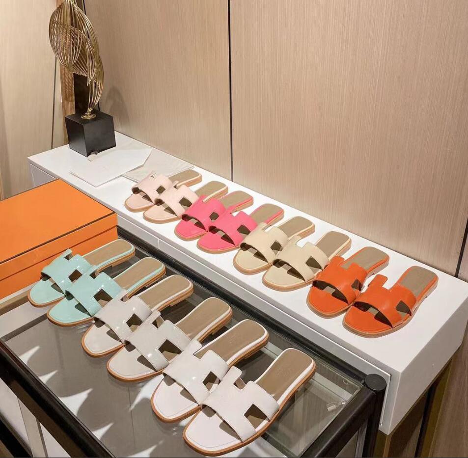Top Designer Luxus Frauen Hausschuhe Klassischer H Leder Sandalen Flache Mode Freizeitschuhe Strand Party Hochzeit mit Box Größe 35-42