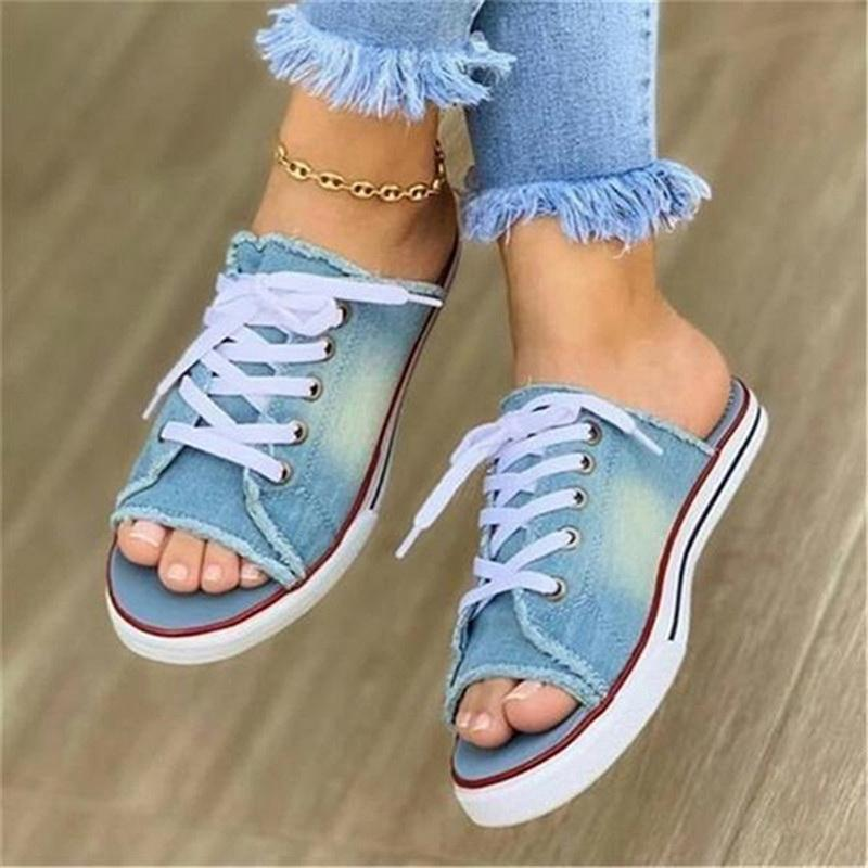 Mulheres Lona Flat Chipper 2021 Mulher Lace Up Ladies Peep Toe Casual Feminino Feminino Moda Denim Beach Shoes Plus Tamanho 35-43 Chinelos