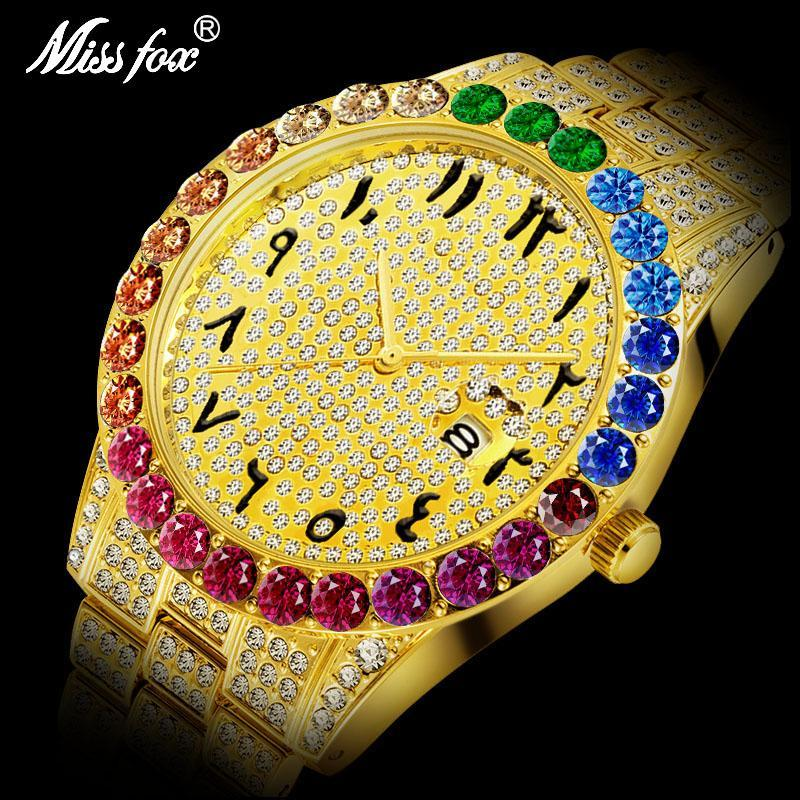 Relógios de pulso 2021 Missfox Relógio árabe Rainbow Diamante Bezel 18K Gold Men Oyster Perpetual À Prova D'água dourada
