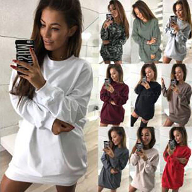 Mulheres comprimento comprimento camisolas casual cor sólida pulôver manga longa vestido primavera outono fêmea solta fit tops vestido de mulheres