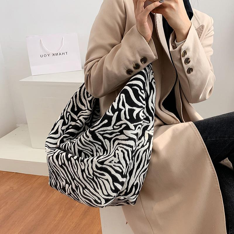 Evening Bags Fashion Canvas Leopard Print Ladies Large Capacity Shopping Shoulder Bag For Women 2021 Foldable Female Totes Handbags
