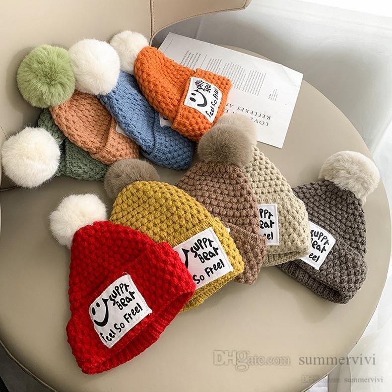 Christmas Children smiling face letter knitted hat sets girls boys plush pompon knit beanie+crochet scarves 2pcs winter kids outdoor accessories Q2702