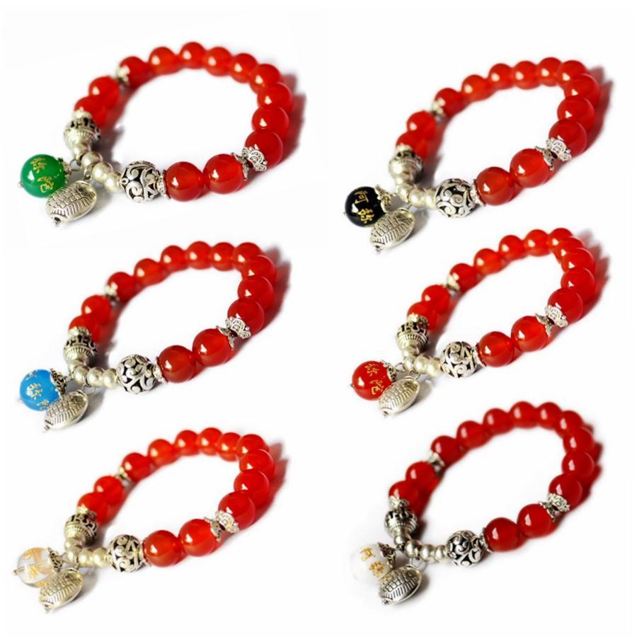 Natürliche rote Achat 10mm Stränge Perlen elastische Armbänder Graviert Namo Amitabha Buddha Perlen Armband Reiki Heilung Kristall Buddhismus Religiöse Schmuck