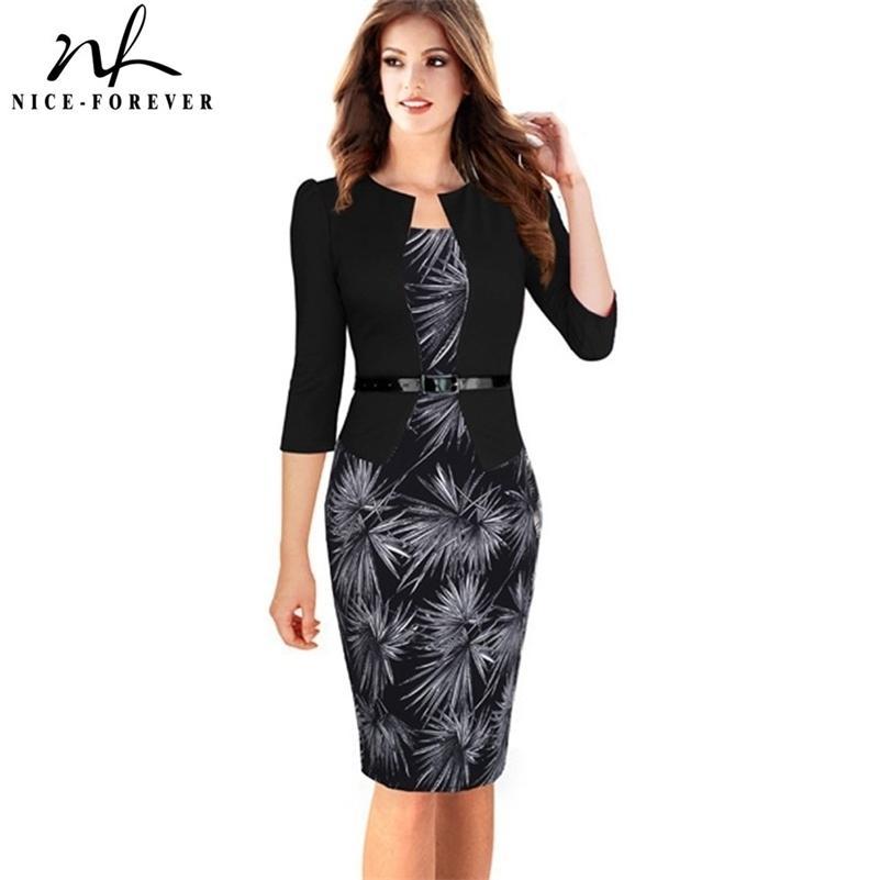 Bom para sempre uma peça jaqueta falso breves padrões elegantes trabalho de vestido de trabalho bodycon fêmea 3/4 ou vestido de bainha de manga completa B237 210402