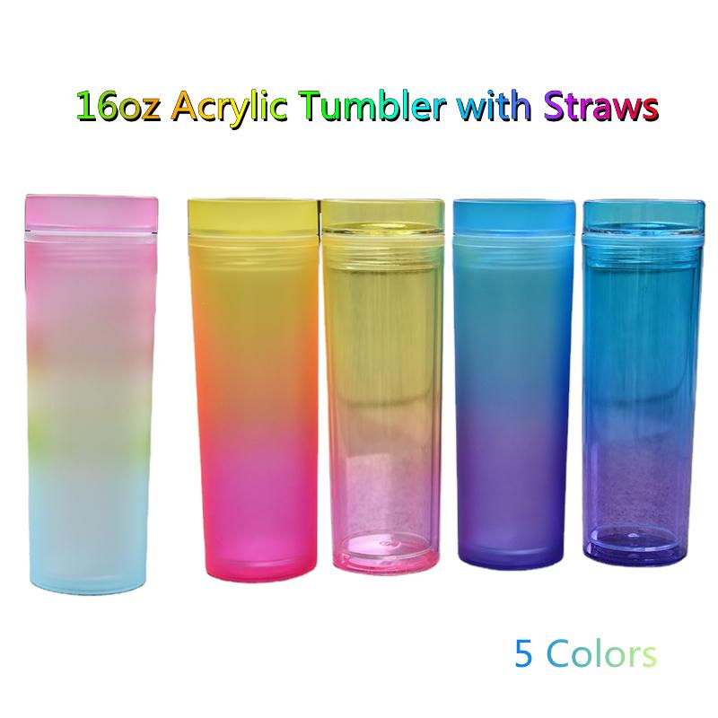 16oz Gradient Acrylic Skinny Tumblers with Straw Lid 5 Ombre Colors Reusable Matte Colored Plastic Cups Double Walled Portable Water Bottles DIY Custom Logo