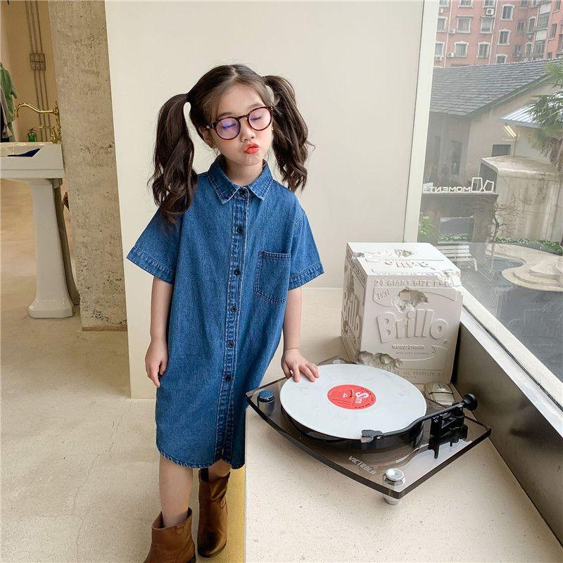 Estilo Moda Extrañamiento 2021 Verano Nuevo New Children's Wear Corean Denim Falda Floja Vestido recto