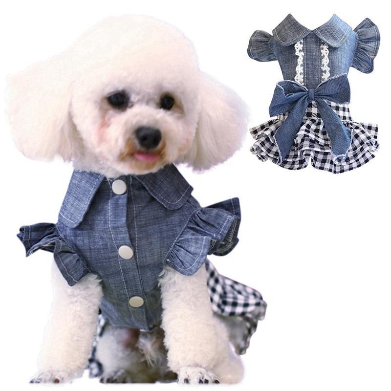 Spring Pet Dog Ropa Denim Vestido Jeans Falda Pequeño Puppy Chihuahua Yorkies Teddy Ropa