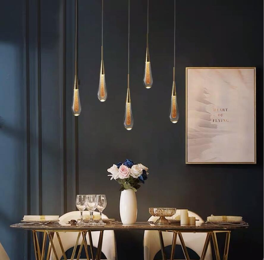 Water drop Chandeliers Post modern simple restaurant revolving ladder light luxury crystal lighting creative personality hotel lobby exhibition hall