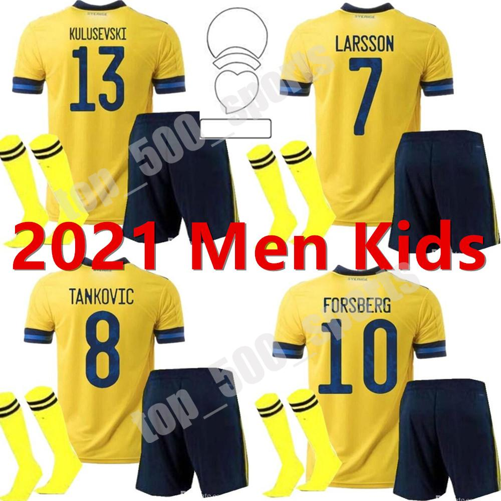남자 키트 키트 스웨덴 저지 2021 국가 대표팀 축구 유니폼 홈 ibrahimovic forsberg Kallstrom 21 22 축구 셔츠