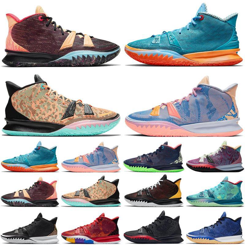 Discount Jumpman 7 7S Hommes Chaussures de basketball Ikhet Midnight Navy Atomic Orange Icônes de Sport Black Sports Sneakers Baskets Mens Taille 7-12