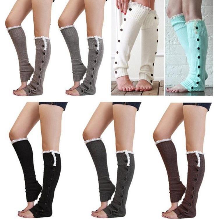 Yüksek Çorap FedEx Gemi Noel Bayan Boot Bacak Isıtıcıları Dantel Düğmesi Kış Tayt Isınma Örme Booty Çoraplar Ayak Kapak Diz