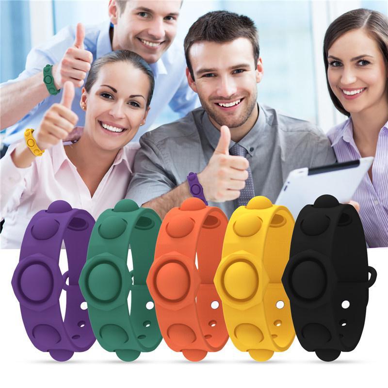 Push Bubble Finger Spielzeug Silikon Zappeln Einfache Grübchen Pop Handgelenk Armband Uhrband Riemen Spielzeug Männer Frauen Squeeze Bubbles Dekompression Einfach zu reinigen Ins