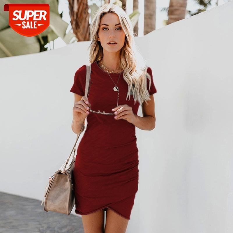 Moshu 2019 مثير س الرقبة اللباس المرأة قصيرة الأكمام غير النظامية تنحنح أنيقة ضئيلة حزب شاطئ فساتين زائد الحجم vestidos الإناث # ET6F