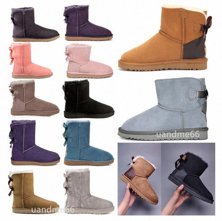 Австралия дизайнер женщины женские женские австралийские ботинки зимние снежные ботинки меховые пушистые классические короткие Бейли теплый лук высокий триплет