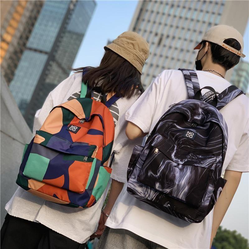Mochila impermeable masculino al aire libre viajes hembra Hip-Hop Pareja Schoolbag Mens Bookbag Diseñador Bolso