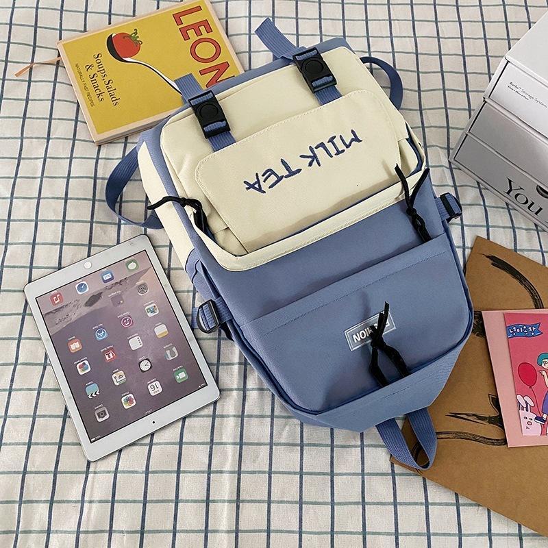 Bolsas de la escuelaSchoolbag 2021 BAPA simple Schoolbag Lovely Girl Color Contraste Bolsa de ocio
