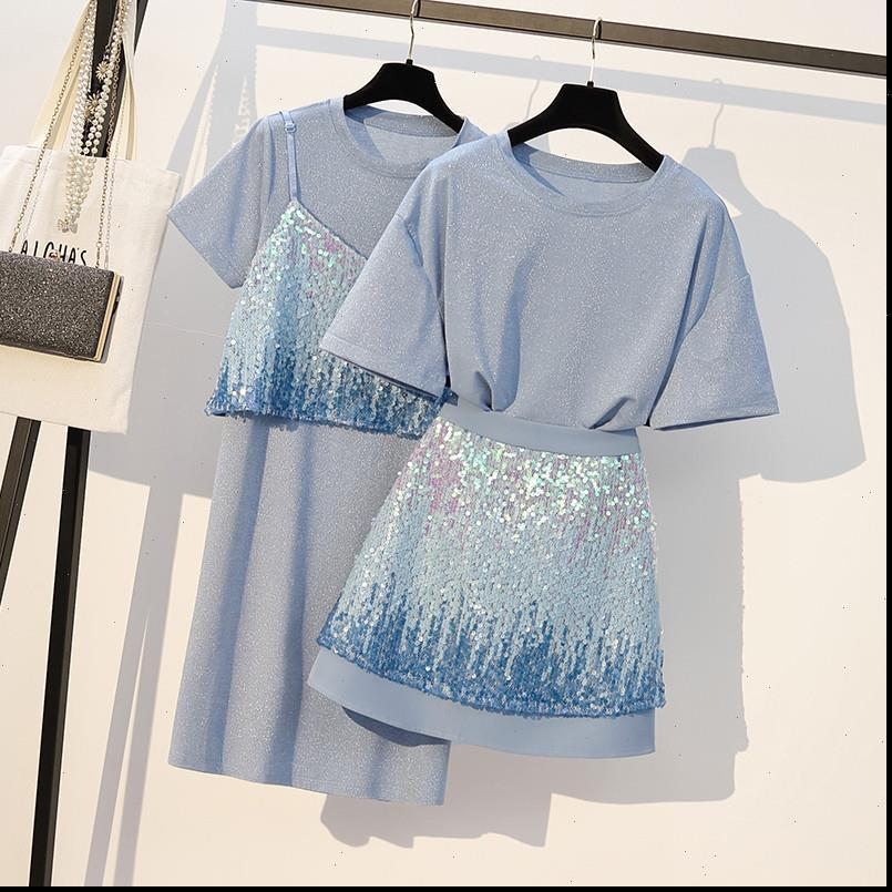 Plus Size Women Clothing Tracksuits 2 Piece Set Sequined T Shirt and skirt for spaghetti straps