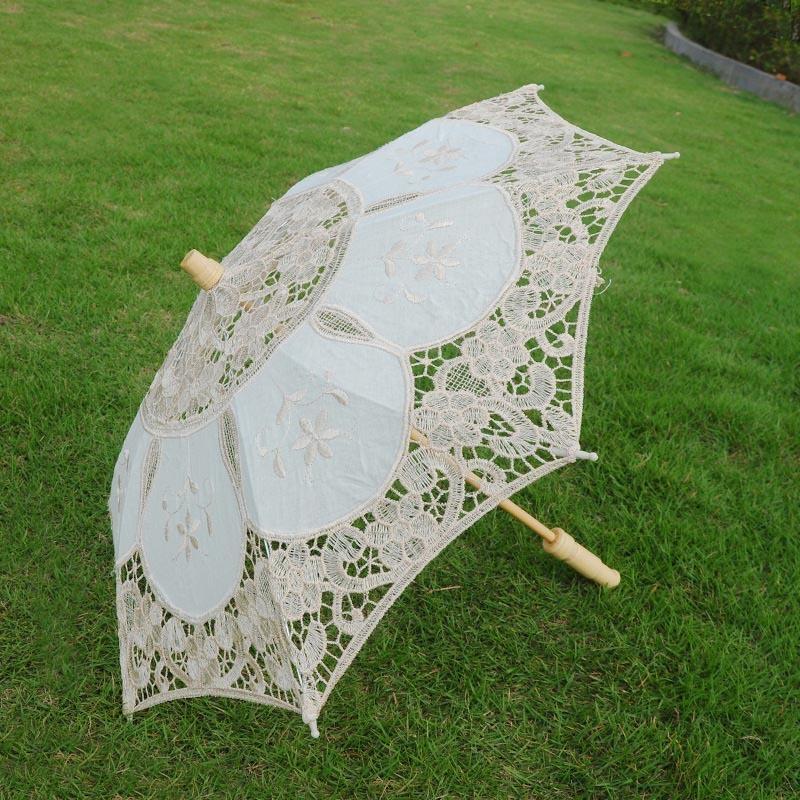 Nuevo algodón sol bordado nupcial blanco marfil Battenburg encaje parasol paraguas decorativo paraguas para bodas