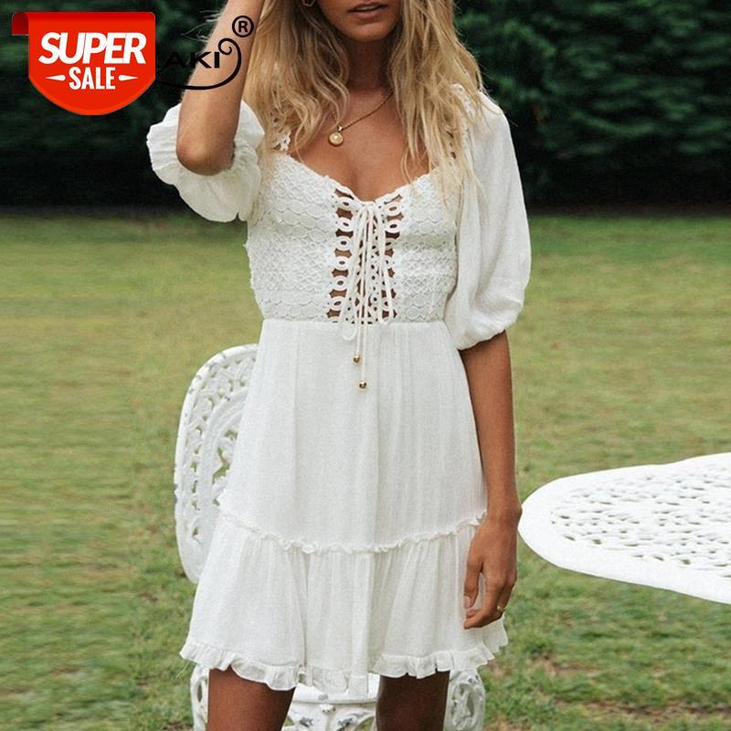 Vestidos Mujer Boho Encaje Patchwork Blanco Extranjero Mini Mini Plus Vestido Vestido Vestidos Vestidos Mujeres 2021 # sh5g