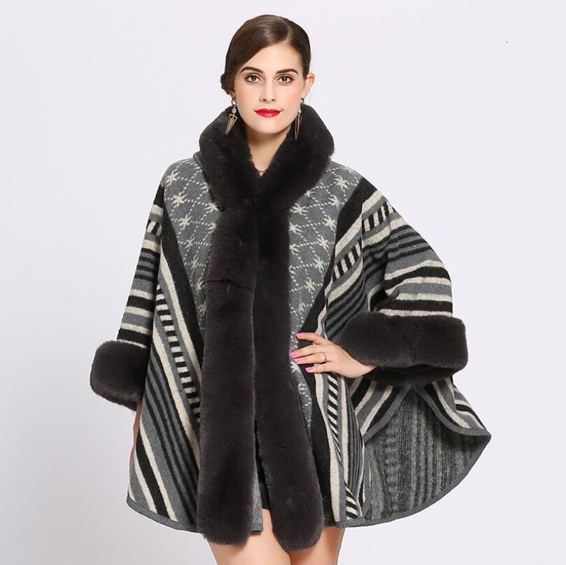 2019 Moda Tarja Jacquard Imitao de Pele Coelho Rex Casaco Mulheres Manto Com Capuz Knit Cabo Xaile Outono Inverno Manto Верхняя одежда W678