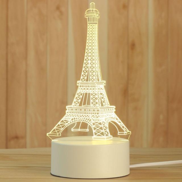 Yaratıcı 3D Gece Işıkları Akrilik Masaüstü Nightlight Boys Ve Kızlar Tatil Hediye Dekoratif Lambalar Yatak Odası Başucu Masa Lambası Eyfel Kulesi