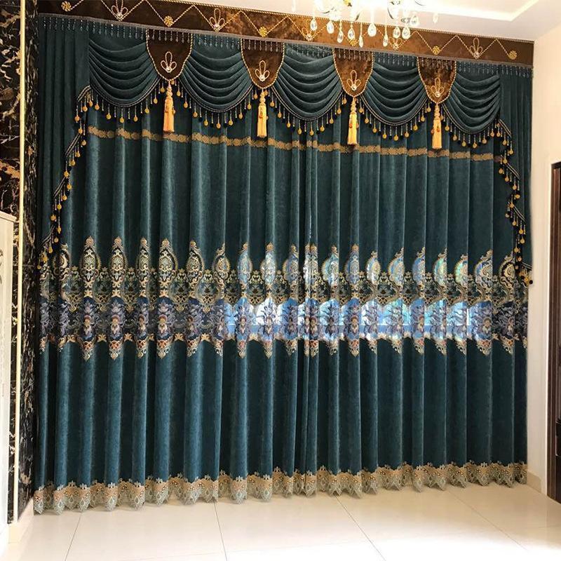 الستائر الأوروبية للذوبان المياه التطريز الكشمير غرفة نوم لغرفة المعيشة الحديثة نافذة الستار الستائر الستائر