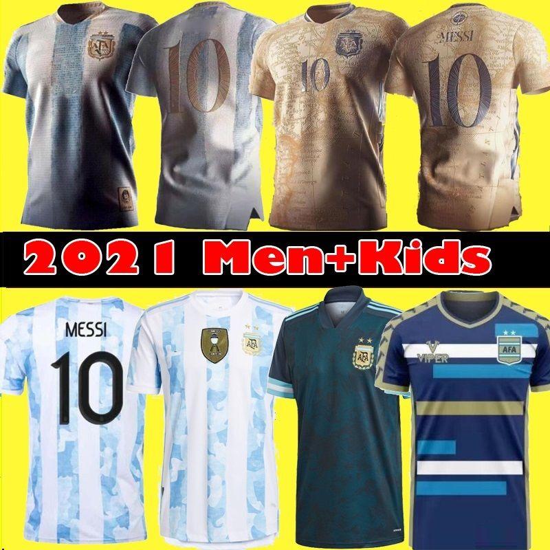 Fan Player versione 2021 Argentina Messi Soccer Jersey Diego Maradona Uomini commemorativi Bambini Dybala Aguero Kit camicia da calcio