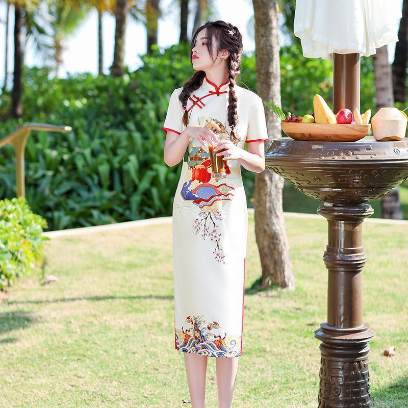 Ropa étnica Mujer Cheongsam Cheongsam Vestido Sexy Vintage Manga corta elegante Qipao Soporte Collar Damas Festival Fiesta Fiesta Split Boda