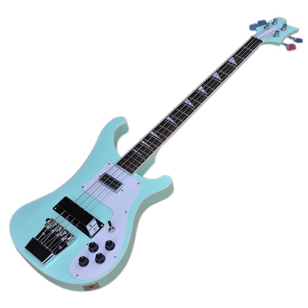 Sky Blue 4 cuerdas 4003 Ricken Electric Bass Guitarra con cabezal invertido, Frebiteboard de palisandro