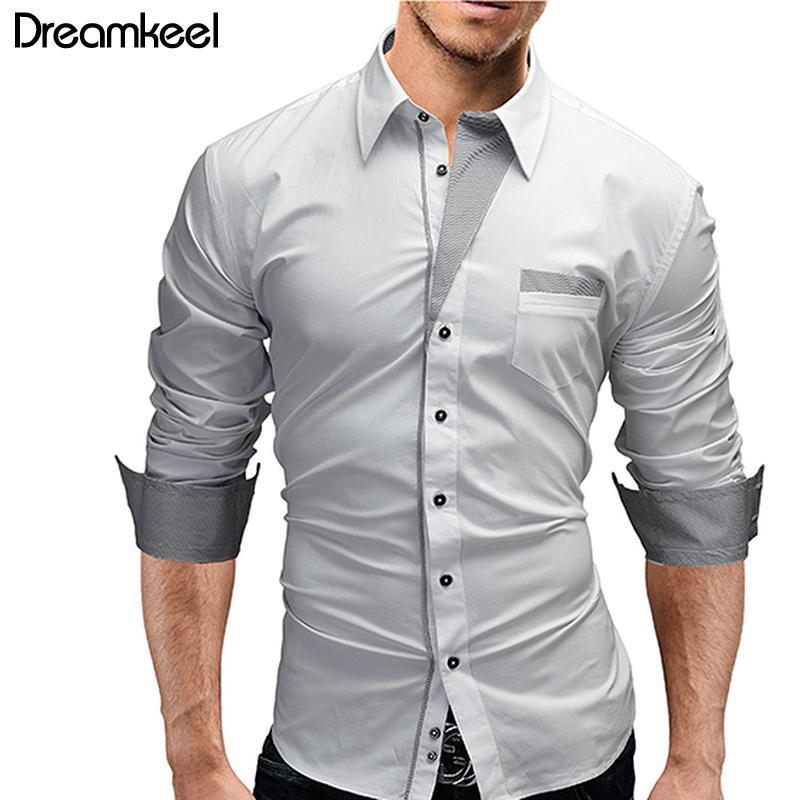 브랜드 2021 봄 줄무늬 드레스 셔츠 남성 긴 소매 셔츠 남성 캐주얼 슬림 피트 화이트 chemise homme y