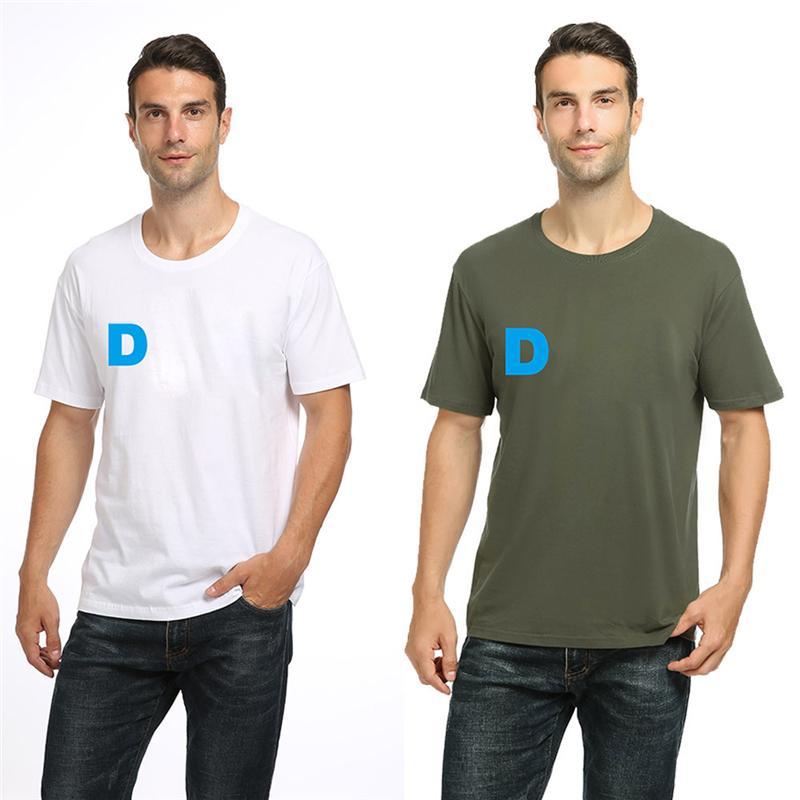 DT-2196 Мужские плюс футболка с футболками хлопок Летний свободный с коротким рукавом 9 цветов, повседневная тройник с буквой логотипа без воротничка T-рубашки S-2XL