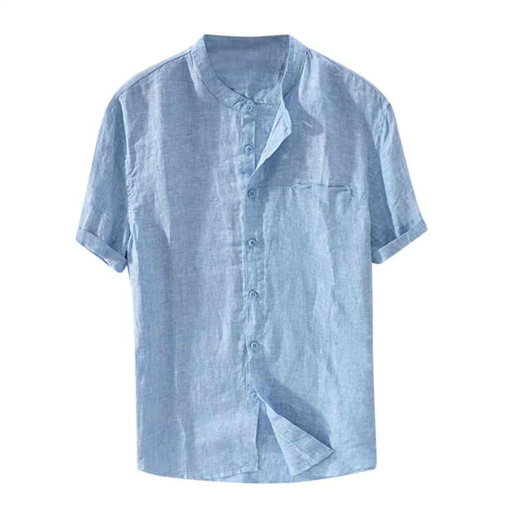 셔츠 느슨한 짧은 소매 남자 캐주얼 셔츠 여름 솔리드 컬러 코튼 린넨 해변 남성용