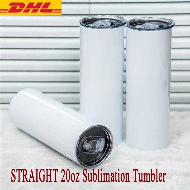Taza de sublimación en blanco 20oz Tazas de botella de agua recta de acero inoxidable Cerveza aislada delgada Taza de café DHL ENTREGA