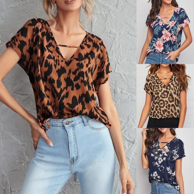 T-shirt feminino v-pescoço casual moda solta leopardo imprimir de mangas curtas streetwear roupa de roupa super grande