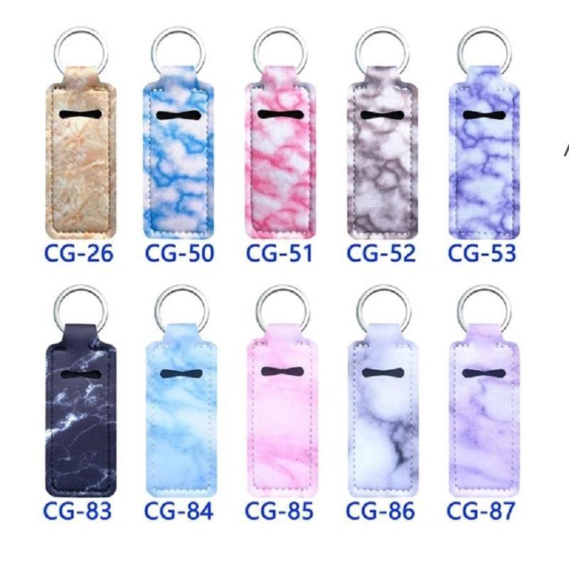 99 Design Druck Chapstick Halter Keychain, Lippenstift Verpackungsbeutel Chapsticks Inhaber Kits Neopren Square Lip Gloss Pouch Armband NHF6824