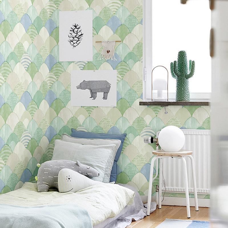 Экологически чистый цветной раковиной текстуры обои нетканые ткани бежевые светлые зеленые голубые детские комнаты объемные обои