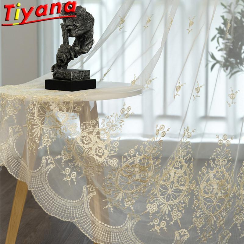 Белые кружевные вышивка тюль для гостиной Европейская элегантность ясных балкона * VT занавес драпировки