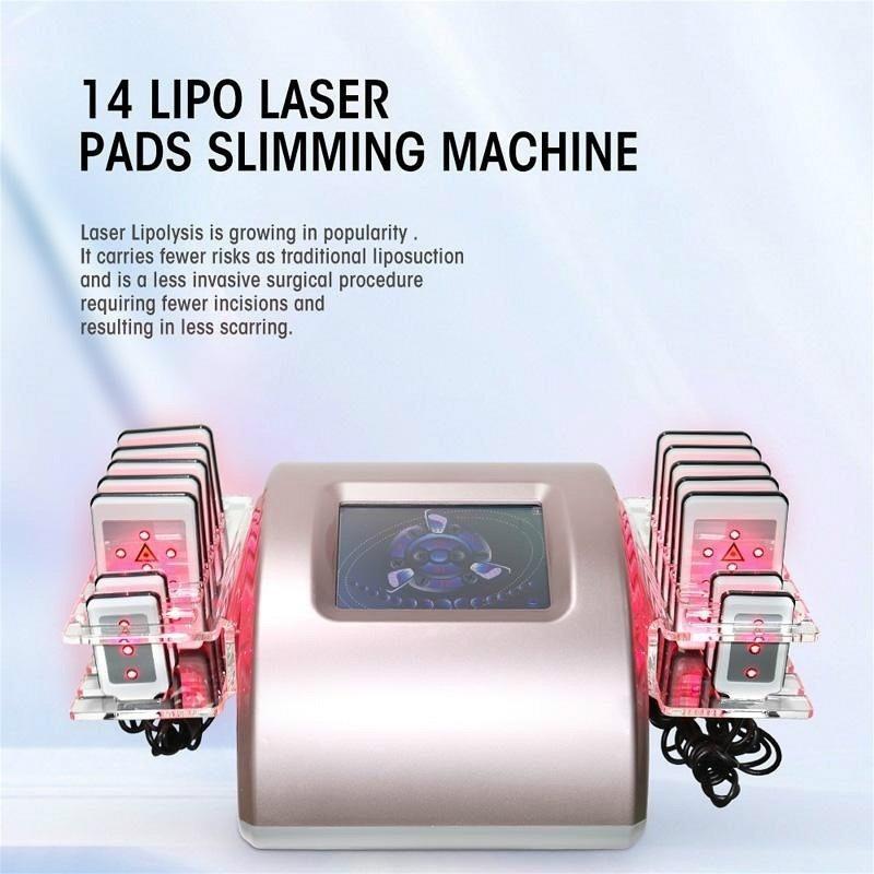 Lipo-Lasermaschine 14 Pads Lipolaser Abnehmen Maschine Fett Brennen HF-Fettabsaugung Cellulite Reduzieren Sie Schönheitssalon-Ausrüstung # 002