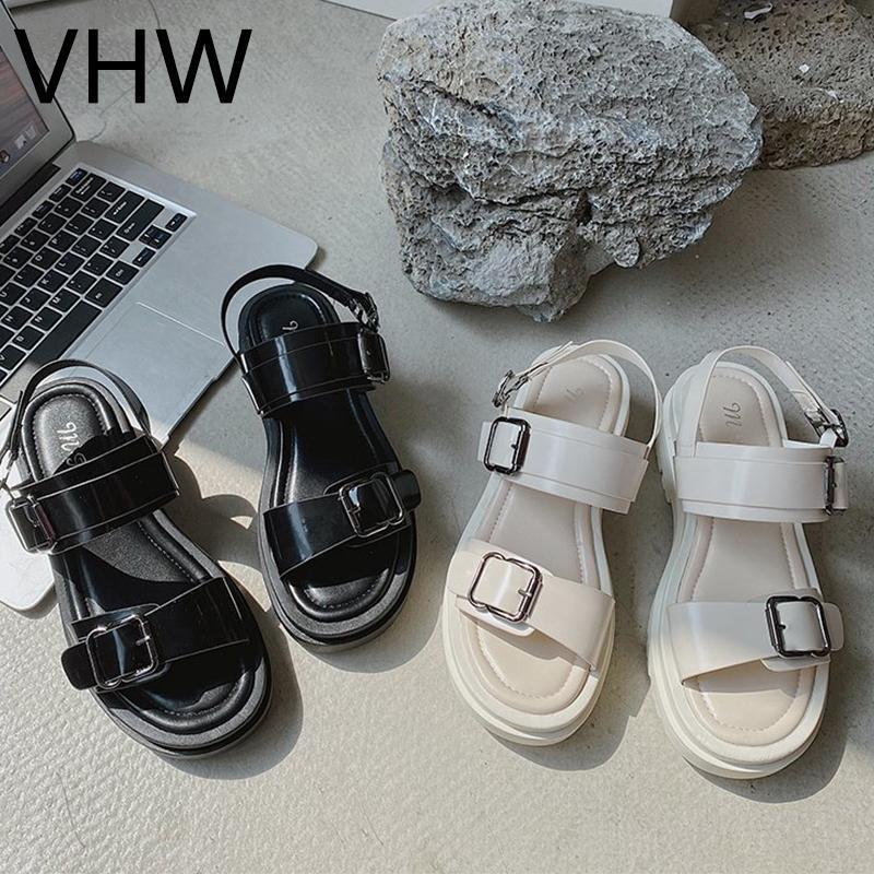 Kadın Sandalet 2021 Yaz Beyaz Rahat Platformu Ayakkabı Moda Siyah Tıknaz Sole Ayak Bileği Toka Kayış Spor Sandels