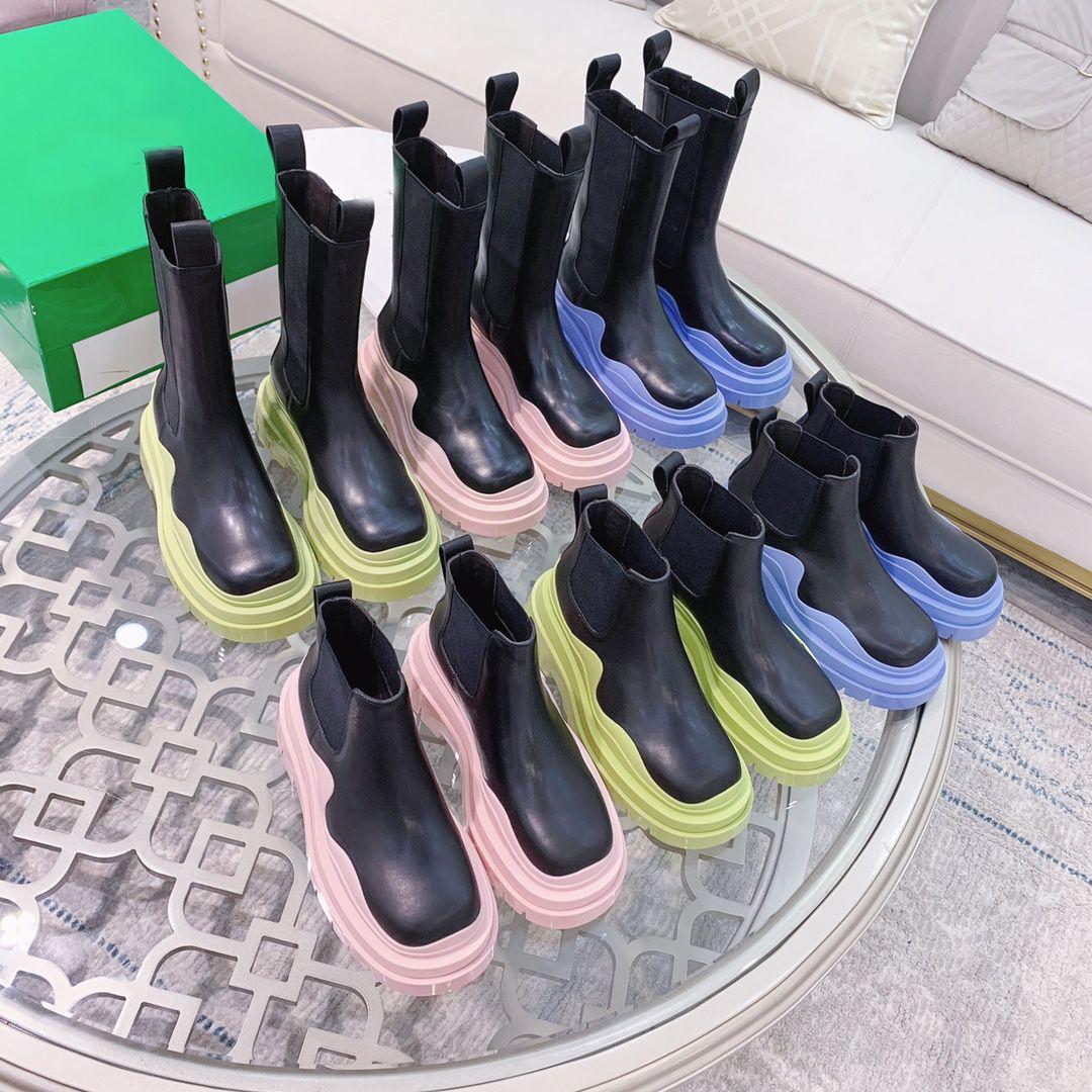 2021 디자이너 럭셔리 타이어 가죽 부츠 숙녀 발목 Haif Cowskin Chelsea 지퍼 부팅 가을 겨울 마틴 패션 캠프 신발 최고 품질 크기 35-42