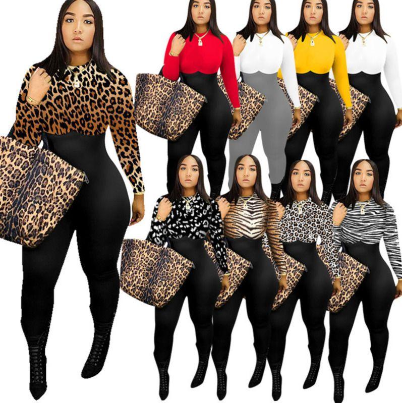 النساء بذلة ضئيلة مثير أزياء ليوبارد مطبوعة طويلة الأكمام السراويل ارتداءها سستة نيسيس السيدات عارضة متعددة الألوان
